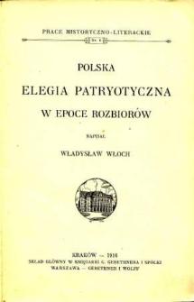 Polska elegia patryotyczna w epoce rozbiorów