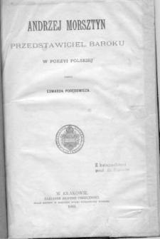 Andrzej Morsztyn : przedstawiciel baroku w poezyi polskiej