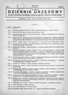 Dziennik Urzędowy Kuratorium Okręgu Szkolnego Rzeszowskiego. 1946, R. 1, nr 1 (styczeń)