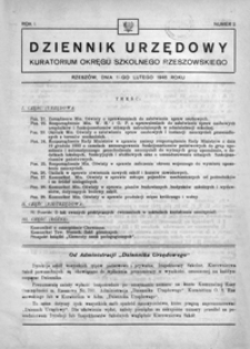 Dziennik Urzędowy Kuratorium Okręgu Szkolnego Rzeszowskiego. 1946, R. 1, nr 2 (luty)