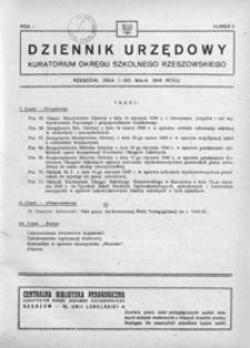 Dziennik Urzędowy Kuratorium Okręgu Szkolnego Rzeszowskiego. 1946, R. 1, nr 5 (maj)