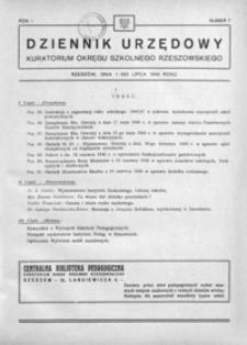 Dziennik Urzędowy Kuratorium Okręgu Szkolnego Rzeszowskiego. 1946, R. 1, nr 7 (lipiec)