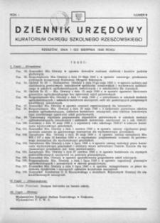 Dziennik Urzędowy Kuratorium Okręgu Szkolnego Rzeszowskiego. 1946, R. 1, nr 8 (sierpień)