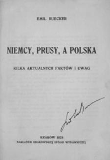 Niemcy, Prusy, a Polska : kilka aktualnych faktów i uwag