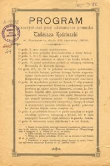 Program uroczystości przy odsłonięciu pomnika Tadeusza Kościuszki w Rzeszowie, dnia 26. czerwca 1898