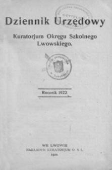 Dziennik Urzędowy dla Okręgu Szkolnego Lwowskiego. 1922, R. 26, nr 1-14