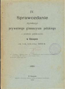 Sprawozdanie Dyrekcyi Prywatnego Gimnazyum Polskiego w Cieszynie za rok szkolny 1898/99