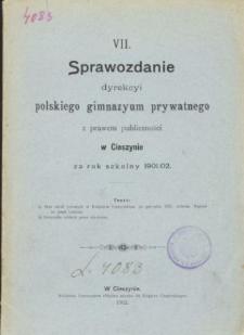 Sprawozdanie Dyrekcyi Prywatnego Gimnazyum Polskiego w Cieszynie za rok szkolny 1901/02