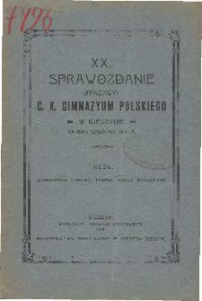 Sprawozdanie Dyrekcyi C. K. Gimnazyum Polskiego w Cieszynie za rok szkolny 1914/15