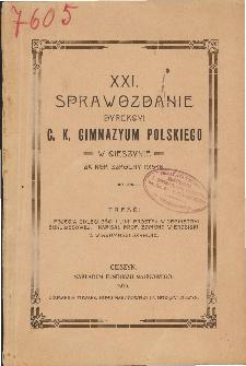 Sprawozdanie Dyrekcyi C. K. Gimnazyum Polskiego w Cieszynie za rok szkolny 1915/16
