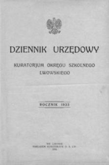 Dziennik Urzędowy Kuratorjum Okręgu Szkolnego Lwowskiego. 1933, R. 37, nr 1-12