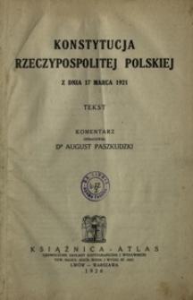 Konstytucja Rzeczypospolitej Polskiej z dnia 17 marca 1921 : tekst