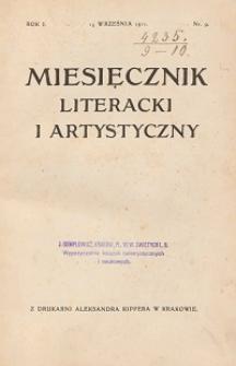 Miesięcznik Literacki i Artystyczny : pismo poświęcone literaturze i sztuce. 1911, R. 1, nr 9