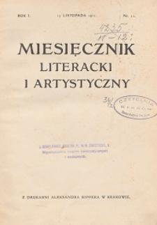 Miesięcznik Literacki i Artystyczny : pismo poświęcone literaturze i sztuce. 1911, R. 1, nr 11