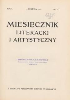 Miesięcznik Literacki i Artystyczny : pismo poświęcone literaturze i sztuce. 1911, R. 1, nr 12