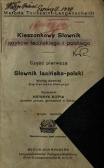 Kieszonkowy słownik języków łacińskiego i polskiego. Cz. 1, Słownik łacińsko-polski