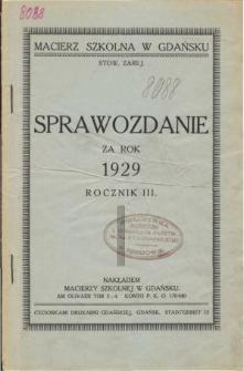 Sprawozdanie Macierzy Szkolnej w Gdańsku za rok szkolny 1929
