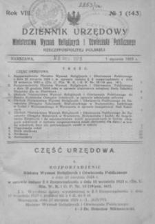 Dziennik Urzędowy Ministerstwa Wyznań Religijnych i Oświecenia Publicznego Rzeczypospolitej Polskiej. 1925, R. 8, nr 1-19