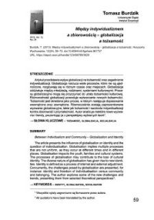 Między indywidualizmem a zbiorowością – globalizacja a tożsamość