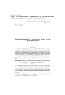 Socjalizacja prawna — nastawienia wobec prawa a jego skuteczność