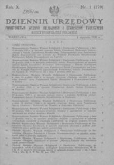 Dziennik Urzędowy Ministerstwa Wyznań Religijnych i Oświecenia Publicznego Rzeczypospolitej Polskiej. 1927, R. 10, nr 1-15