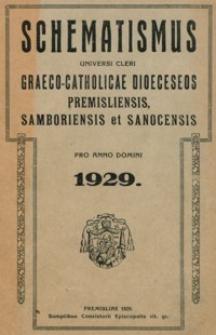 Schematismus Universi Cleri Graeco-Catholicae Dioeceseos Premisliensis, Samboriensis et Sanocensis pro Anno Domini 1929