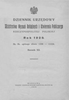 Dziennik Urzędowy Ministerstwa Wyznań Religijnych i Oświecenia Publicznego Rzeczypospolitej Polskiej. 1929, R. 12, nr 1-13