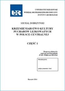 Krzemieniarstwo kultury pucharów lejkowatych w Polsce centralnej