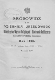 Dziennik Urzędowy Ministerstwa Wyznań Religijnych i Oświecenia Publicznego Rzeczypospolitej Polskiej. 1931, R. 14, nr 1-12