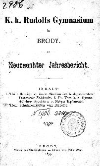 Jahresbericht K. K. Rudolfs-Gymnasium in Brody fur das schuljahr 1897
