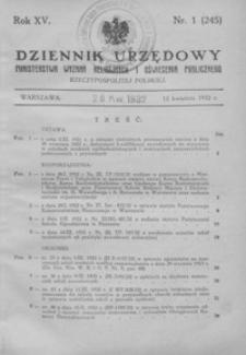 Dziennik Urzędowy Ministerstwa Wyznań Religijnych i Oświecenia Publicznego Rzeczypospolitej Polskiej. 1932, R. 15, nr 1-9