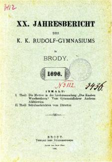 Jahresbericht K. K. Rudolfs-Gymnasium in Brody fur das schuljahr 1898