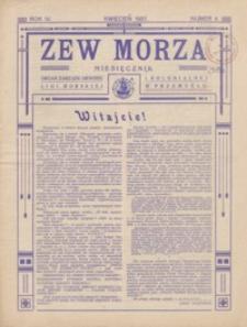 Zew Morza : organ Zarządu Obwodu Ligi Morskiej i Kolonialnej w Przemyślu. 1937, R. 4, nr 4 (kwiecień)