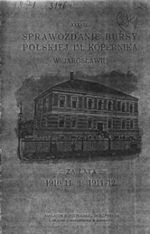 Sprawozdanie Bursy Polskiej im. Kopernika w Jarosławiu za rok szkolny 1910/11 i 1911/12