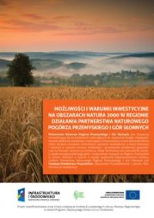 Możliwości i warunki inwestycyjne na obszarach natura 2000 w regionie działania partnerstwa naturowego Pogórza Przemyskiego i Gór Słonnych