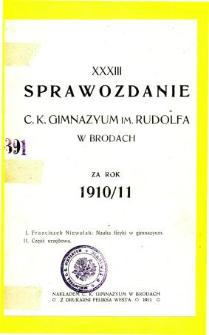 Sprawozdanie C. K. Gimnazjum im. Rudolfa w Brodach za rok szkolny 1910/11