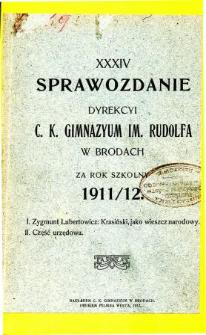 Sprawozdanie C. K. Gimnazjum im. Rudolfa w Brodach za rok szkolny 1911/12