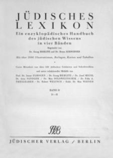 Jüdisches Lexikon : ein enzyklopädisches Handbuch des jüdischen Wissens in vier Bänden. Bd. 2, D-H
