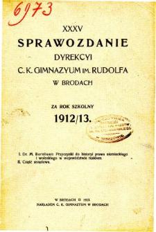 Sprawozdanie C. K. Gimnazjum im. Rudolfa w Brodach za rok szkolny 1912/13