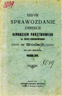 Sprawozdanie Dyrekcji Gimnazjum Państwowego im. Jóżefa Korzeniowskiego w Brodach za rok szkolny 1928/29