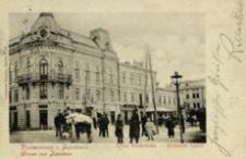 Pozdrowienie z Jarosławia. Ulica Krakowska = Gruss aus Jaroslau. Krakauer Gasse [Fotowidokówka z obiegu]