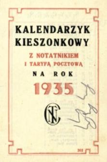 Kalendarzyk kieszonkowy z notatnikiem i taryfą pocztową na rok 1935