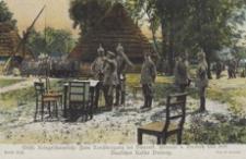 Oestl. Kriegsschauplatz: Zum Sanübergang bei Dwernik. General v. Emmich hält dem Deutschen Kaiser Vortrag [Pocztówka]