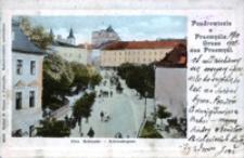 Pozdrowienie z Przemyśla. Ul. Kościuszki = Gruss aus Przemyśl. Kościuszkogasse [Fotowidokówka z obiegu]