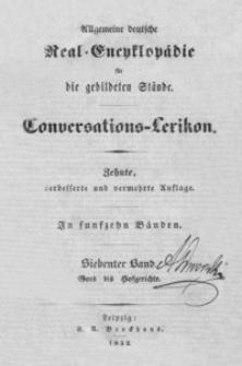 Allgemeine deutsche Real-Encyklopädie für die gebildeten Stände : Conversations-Lexicon. Bd. 7, Goes bis Hofgerichte