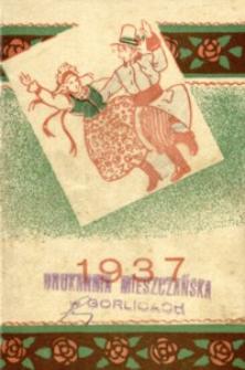 Kalendarzyk kieszonkowy na rok 1937 z taryfą pocztową