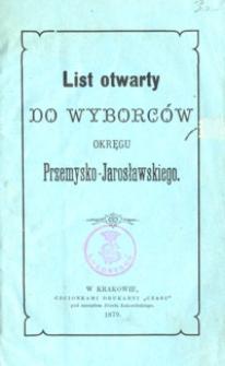 List otwarty do wyborców okręgu Przemysko-Jarosławskiego