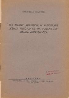 """Tak zwany """"Heinrech"""" w autografie """"Ksiąg pielgrzymstwa polskiego"""" Adama Mickiewicza"""