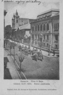 Rzeszów. Ulica 3 Maja. Odwrót 11/VI 1915. Patrol czerkiesa [Pocztówka]