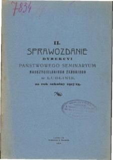 Sprawozdanie Dyrekcyi Publicznego Seminaryum Nauczycieskiego Żeńskiego w Lublinie za rok szkolny 1917/18
